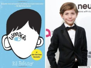 Jacob Tremblay next to the book cover for Wonder. Image Credit: Amazon/Getty