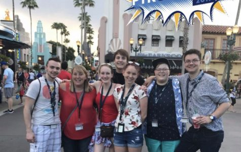 Cambridge campus Phi Theta Kappa chapter and advisor spending free time at Disney Hollywood Studios (Left to Right: Arian Timm, Ann Pelzel, Abby Paulus, Drew Brinker, Madilyn Wallace, Jack Yates, Axel Kylander). Photo Credit: Abby Paulus