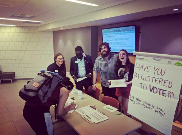 One of LeadMN's Get Out the Vote (GOTV) events aimed at increasing voter turnout among college students. Image Credit: LeadMN via Instagram